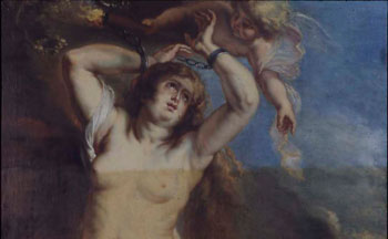 Cleaning a copy of Rubens Andromeda and Perseus.