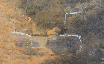 Repairing torn canvas of oil painting