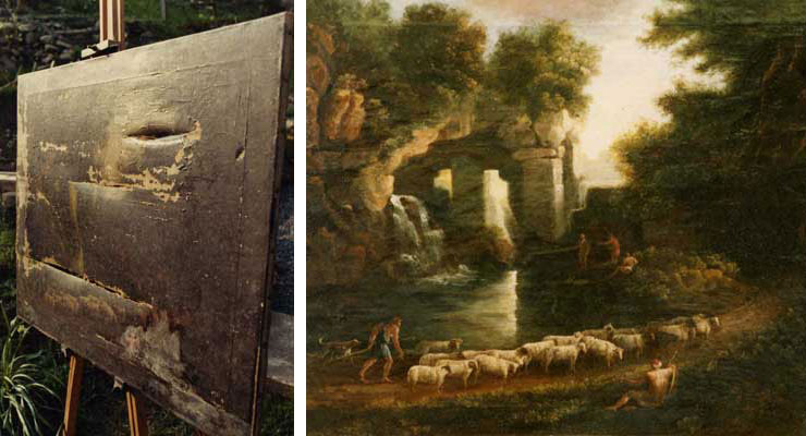 A severly damaged painting shown in raking light