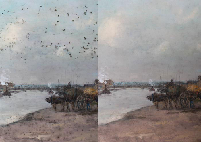 Before and after image of a restored pastel